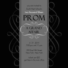 Black and White Formal Square Prom Invite