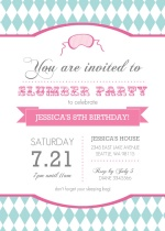 Pink and Teal Slumber Party Invitation