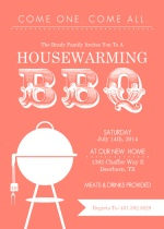 Coral Modern BBQ Housewarming Invitation