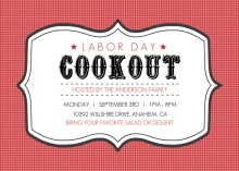 Red Gingham Labor Day Invite