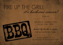 Branding Iron Rustic Black and Brown BBQ Invite