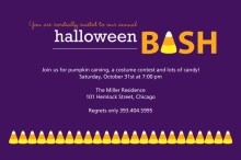 Purple Candy Corn Halloween Bash Invite