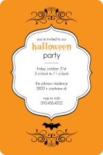 Elegant Orange and Black Halloween Party Invite