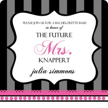 Black and Gray Stripes with Pink Bachelorette Party Invitation