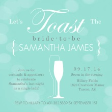 Turquoise Toasting Bubbles Bachelorette Party Invitation