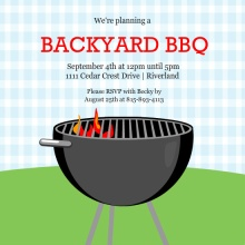 Blue Gingham Backyard BBQ Summer Party Invitation