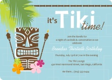 Blue Retro Pattern Tiki Party Invite