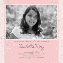 Pink Feminine First Communion Invite