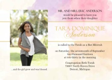 Gold and Bright Watercolor  Bat Mitzvah Invitation