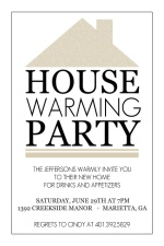Taupe and Black Modern Home Housewarming Invite