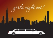 Stretch Limo Vegas Girls Night Invitation