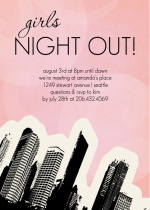 Pink Cityscape Ladies Night Invitation