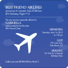 Periwinkle Sky Jet Plane Surprise Party Invite
