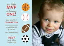 Sports Balls First Birthday Invitation