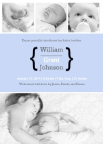 Four Photo Baby Boy Sibling Baby Announcement