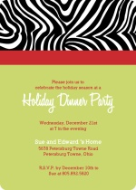 Zebra Print Holiday Party Invitation