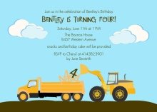 Dump Truck Birthday Party Invitation