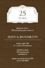 Brown Linen 25th Anniversary Party Invitation