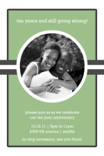 Green and Gray Stripe Photo 10th Anniversary Party Invite