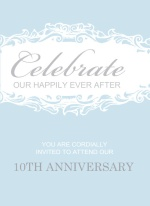Blue Formal  Trifold Wedding Anniversary Invitation