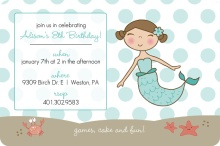 Blue Mermaid and Dots Kids Party Invitation