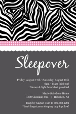 Sassy Zebra Print Slumber Party Invitation