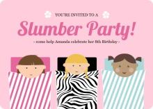 Pink Sleeping Bag Slumber Party Invitaion