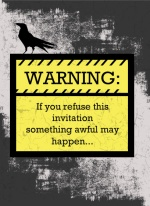 Blackbird WARNING Halloween Card