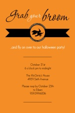 Witch's Broom Party Invitation