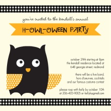 Orange Owl Halloween Invitation