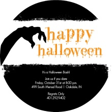Edgy Black and White Halloween Party Invitation
