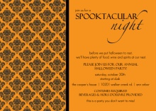Couture Orange and Black Damask Halloween Party Invitaiton