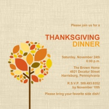 Simple Fall Tree Thanksgiving Invitation