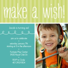 Green and Turquoise Make a Wish Party Invitation