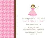 Pink Houndstooth Princess Kids Birthday Invitations
