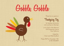 Gobble Gobble Turkey Thanksgiving Invitation