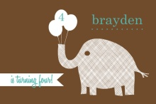 Textured Brown Elephant Birthday Party Invitation