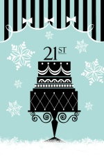 Light Blue and Black 21st Holiday Birthday Party Invite