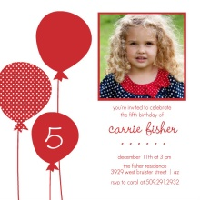 Red Balloons Holiday Birthday Invitation