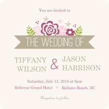 Pink Flowers  Wedding Invitation