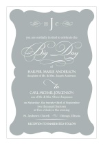 Elegant Gray Frame Wedding Invitation