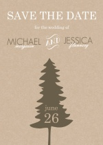 Rustic Pine Trees  Save the Date Announcement
