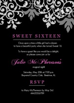 Black and Pink Flourish Sweet 16 Birthday  Invitations