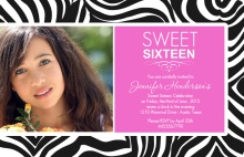 Zebra and Pink Sweet Sixteen Birthday Invitation