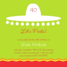 Sombrero Silhouette 40th Birthday Invitation