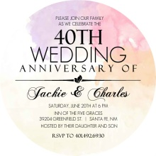 Colorful Watercolor 40th Anniversary Invitation