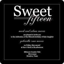 Black Modern Quinceanera Invitation