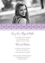 Purple Elegant Quineanera Invitation