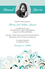 Fancy Turquoise Quinceanera Invite
