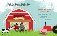 Down On the Farm Birthday Party Invitation